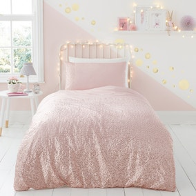 Sequin Pink Duvet Cover and Pillowcase Set