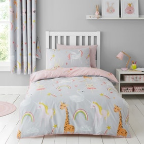Party Animals Grey Duvet Cover and Pillowcase Set