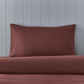 Soft & Cosy Brushed Cotton Claret Housewife Pillowcase Pair