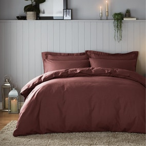 Soft & Cosy Brushed Cotton Claret Duvet Cover and Pillowcase Set