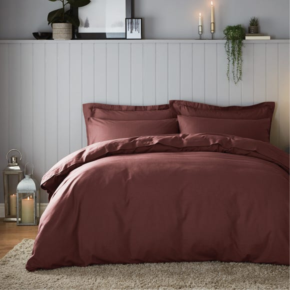 Soft & Cosy Luxury Brushed Cotton Claret Duvet Cover and Pillowcase Set  undefined