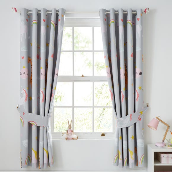 Party Animals Grey Blackout Eyelet Curtains  undefined
