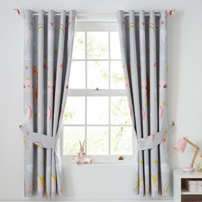 Party Animals Grey Blackout Eyelet Curtains