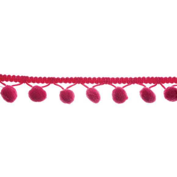 Cerise Hanging Pom Poms Cerise (Pink)