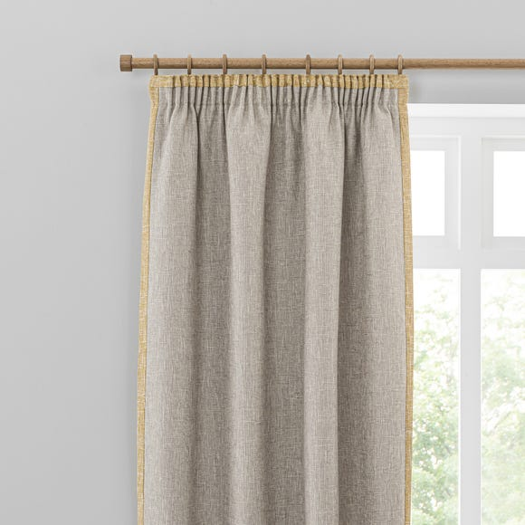 Boucle Border Natural Ochre Pencil Pleat Curtains  undefined