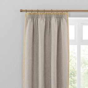 Boucle Border Natural Ochre Pencil Pleat Curtains