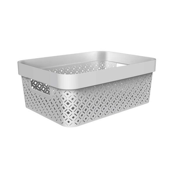 11.5L Recycled Grey Terrazzo Storage Basket Grey