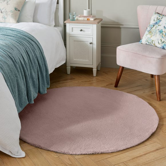 Faux Fur Supersoft Lush Circle Rug Supersoft Lush Blush undefined