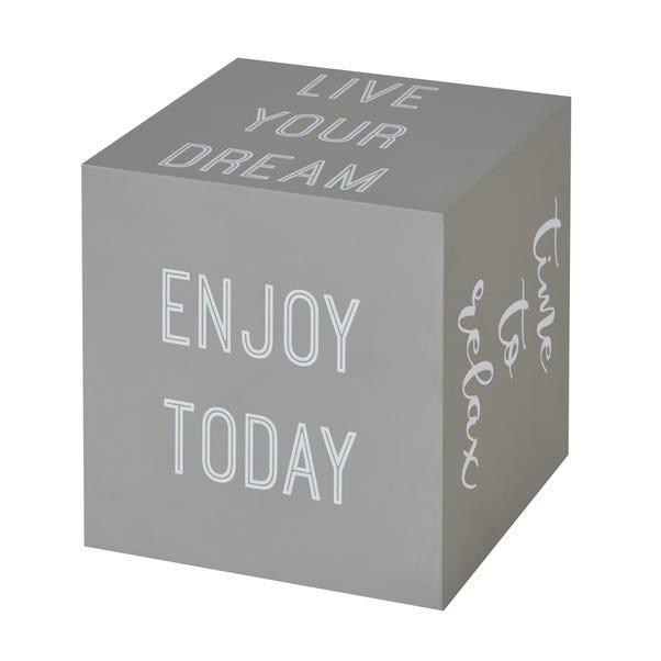Slogan Cube Grey