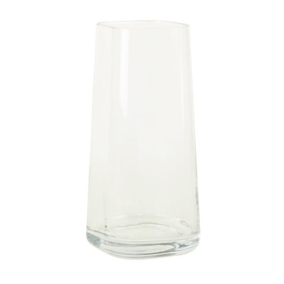 Large Tapered Glass Vase Clear