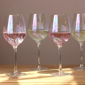 Set of 4 Cut Lustre Wine Glasses