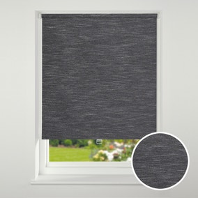 Swish Cordless Black Textured Blackout Roller Blind