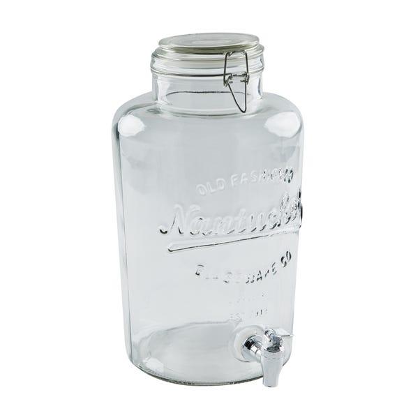 Dunelm 8.5L Glass Drinks Dispenser Clear