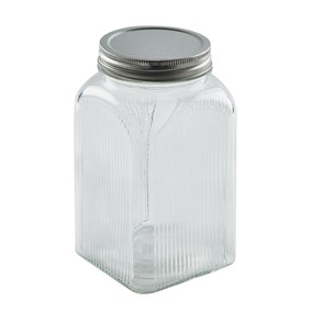 Dunelm Glass Ribbed Canister