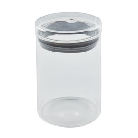 Dunelm Grey 600ml Glass Jar