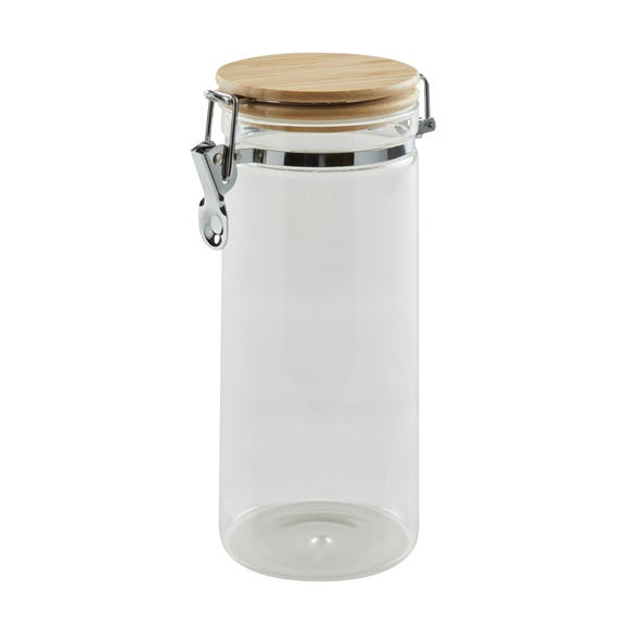Dunelm 1250ml Glass Jar with Wooden Lid Clear