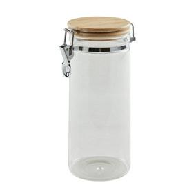 Dunelm 1250ml Glass Jar with Wooden Lid