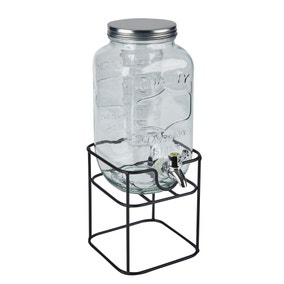 Dunelm 3.3L Glass Drinks Dispenser with Infuser and Stand