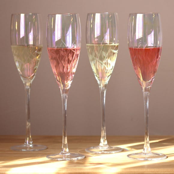 Cut Lustre Champagne Flutes Pack of 4  MultiColoured