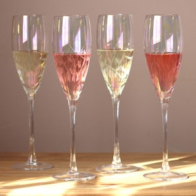 Set of 4 Cut Lustre Champagne Flutes
