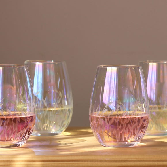 Cut Lustre Tumblers Pack of 4 MultiColoured