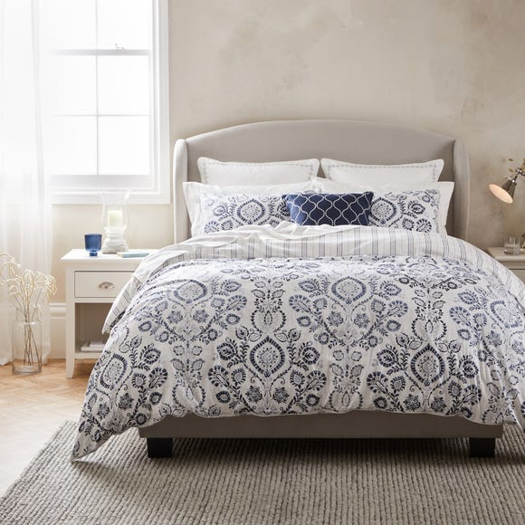 Dorma Harlyn Navy Organic Cotton Duvet Cover and Pillowcase Set  undefined