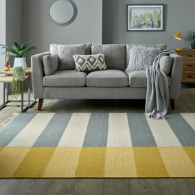 Rimba Ochre and Grey Wool Blend Rug