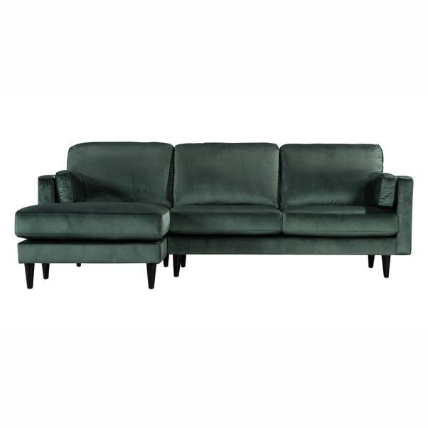 Sheldon Velvet Left Hand Corner Chaise Sofa Bottle (Green)