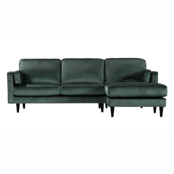 Sheldon Velvet Right Hand Corner Chaise Sofa Bottle (Green)