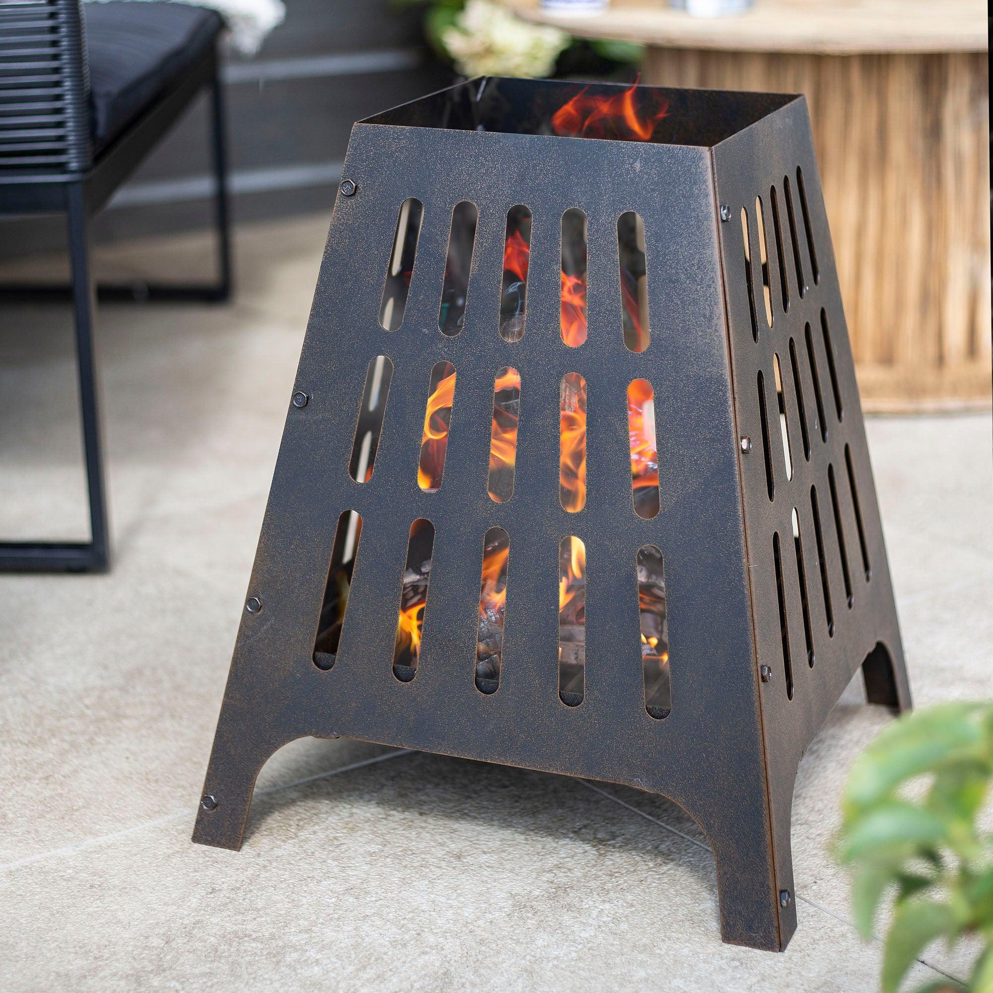 Anubis Steel Fire Basket Bronze