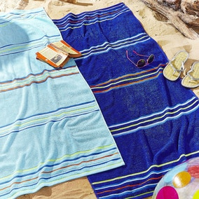 Catherine Lansfield Rainbow Blue and Navy Beach Towel Twin Pack