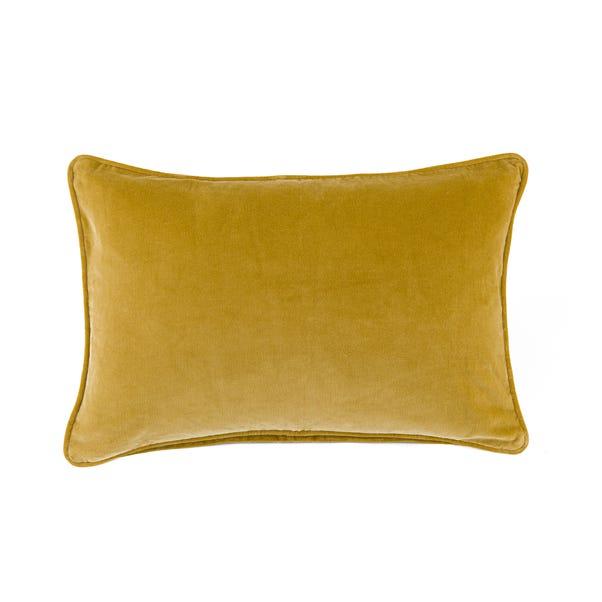 Clara Cotton Velvet Rectangle Cushion Ochre undefined