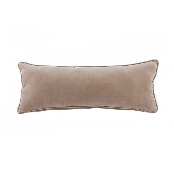 Clara Cotton Velvet Rectangle Cushion Natural undefined