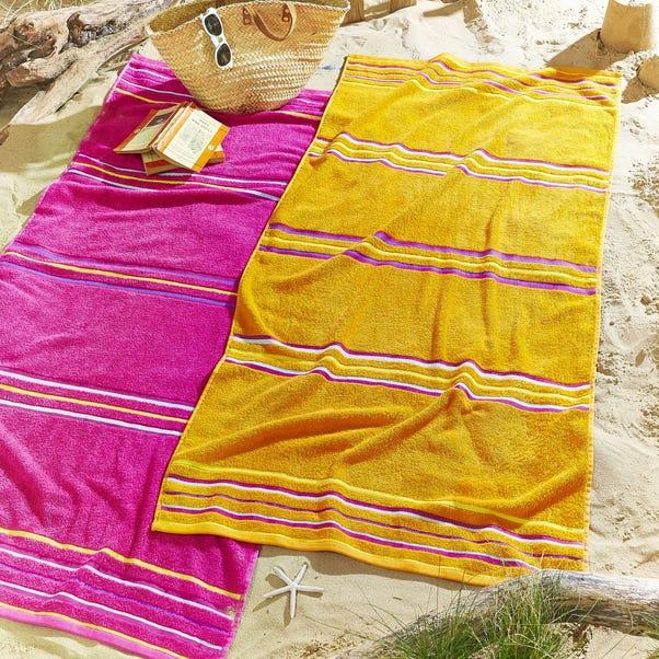 Catherine Lansfield Rainbow Pink and Orange Beach Towel Twin Pack