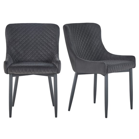 Montreal Set of 2 Dining Chairs Charcoal Velvet Charcoal