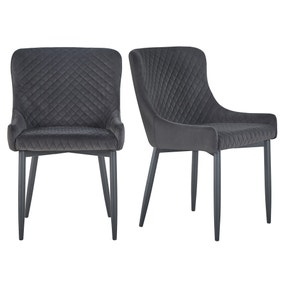 Montreal Set of 2 Dining Chairs Charcoal Velvet