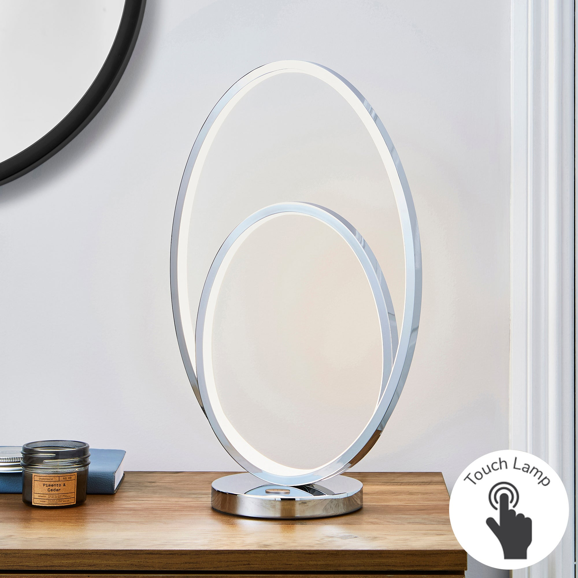 Menton Dimmable Integrated LED Chrome Table Lamp Silver