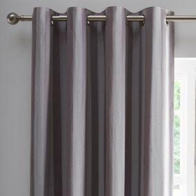 Allana Silver Stripe Blackout Eyelet Curtains