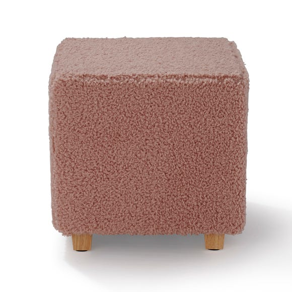 Teddy Square Footstool Teddy Blush Pink