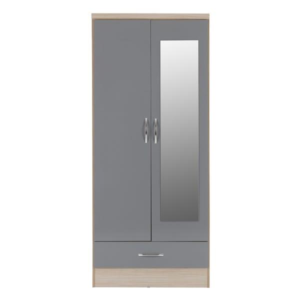 Nevada Grey Double Mirrored Wardrobe