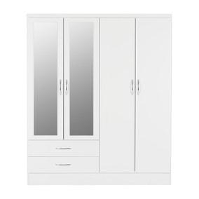 Nevada 4 Door Mirrored Wardrobe