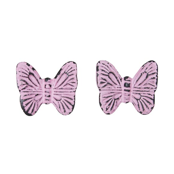 Pink Butterfly Set of 2 Door Knobs Pink