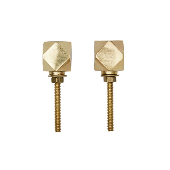 Geo Brass Set of 2 Door Knobs Brass