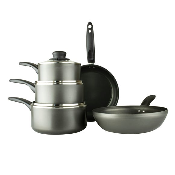 Dunelm Aluminium 5 Piece Non-Stick Pan Set Black