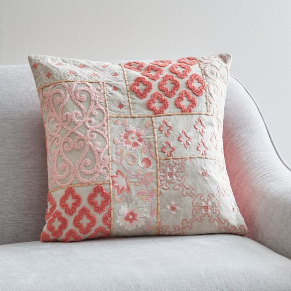 Patchwork Embroidered Floral Cushion Blush