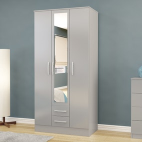 Lynx Grey Triple Mirrored Wardrobe