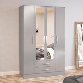 Lynx Grey 4 Door Mirrored Wardrobe