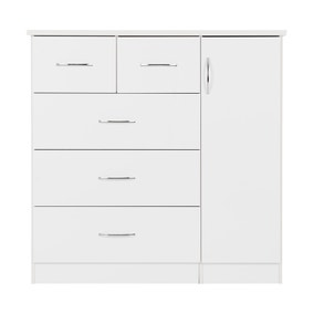 Nevada White 5 Drawer Compact Wardrobe