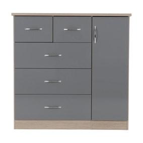 Nevada Grey 5 Drawer Compact Wardrobe