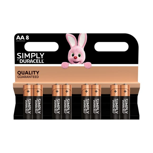 Duracell Simply Batteries Pack of 8 AA Black